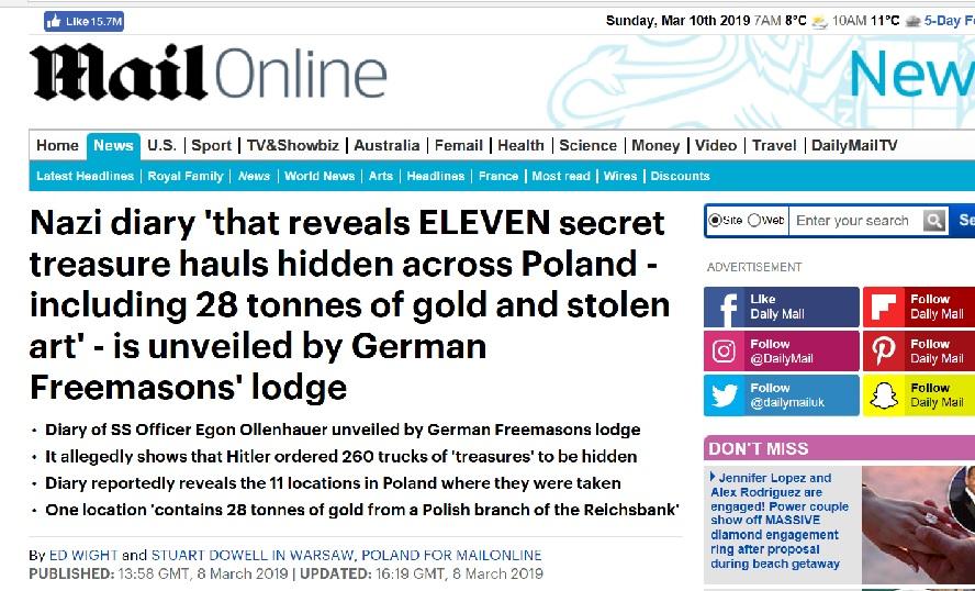 """Brytyjski """"Daily Mail"""" pisze już o 11 miejscach na Śląsku, gdzie zostały ukryte tony złota i bezcenne dzieła sztuki."""