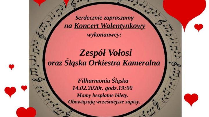 Walentynki w Filharmonii Śląskiej. Miasto Katowice zaprasza. Pełny plakat w tekście.