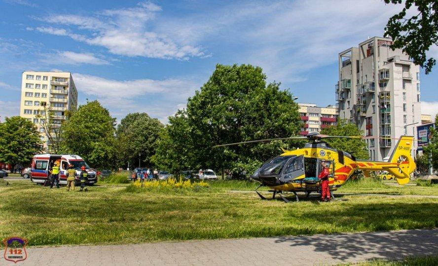 Na miejsce wypadku, do którego doszło wczoraj w Tychach, wezwano śmigłowiec Lotniczego Pogotowia Ratunkowego.